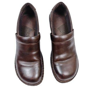 Born Brown Leather Slip On Clogs Born Size 8